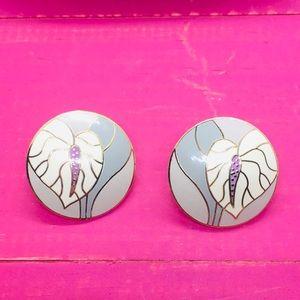 Laurel Burch Vintage Signed earrings Antherium